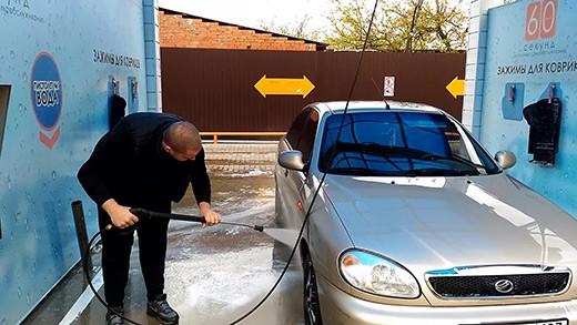 Смойте автошампунь водой